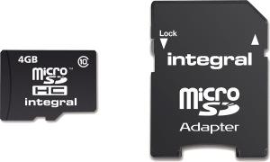 Integral Micro SDHC (con Adaptador) (Class 10 - 20x) 4GB Tarjeta (Class 10)