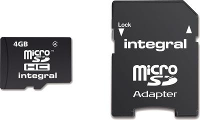 Integral Micro SDHC (con Adaptador) (Class 4) 4GB Tarjeta (Class 4)