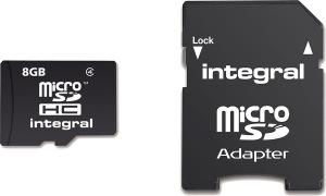 Integral Micro SDHC (con Adaptador) (Class 4) 8GB Tarjeta (Class 4)