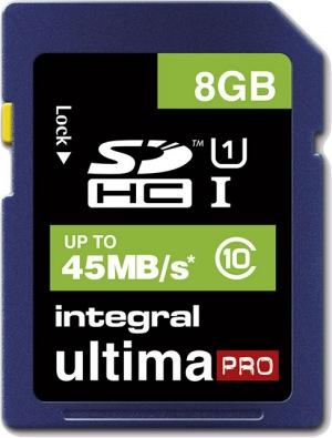 Integral SDHC 8GB Tarjeta (Class 10 - 45MB/s)